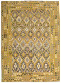 Kelim Afghan Old Style Matto 255X358 Itämainen Käsinkudottu Keltainen/Vaaleanruskea Isot (Villa, Afganistan)