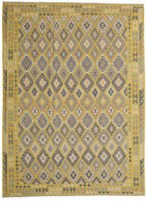 Kelim Afghan Old Style Matto 257X351 Itämainen Käsinkudottu Oliivinvihreä/Vaaleanruskea Isot (Villa, Afganistan)