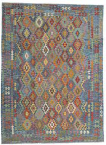 Kelim Afghan Old Style Matto 256X351 Itämainen Käsinkudottu Vaaleanharmaa/Vaaleanruskea Isot (Villa, Afganistan)