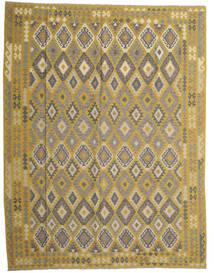 Kelim Afghan Old Style Matto 298X389 Itämainen Käsinkudottu Oliivinvihreä/Tummanharmaa Isot (Villa, Afganistan)