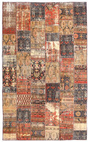 Patchwork - Persien/Iran Matto 191X312 Moderni Käsinsolmittu Tummanpunainen/Ruskea (Villa, Persia/Iran)