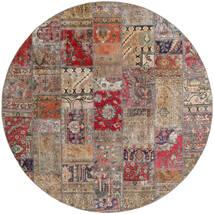 Patchwork - Persien/Iran Matto Ø 250 Moderni Käsinsolmittu Pyöreä Vaaleanharmaa/Vaaleanruskea Isot (Villa, Persia/Iran)