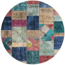 Patchwork - Persien/Iran Matto Ø 250 Moderni Käsinsolmittu Pyöreä Vaaleanharmaa/Tummansininen Isot (Villa, Persia/Iran)