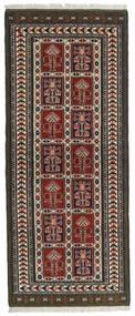 Turkaman Matto 82X196 Itämainen Käsinsolmittu Käytävämatto Musta/Tummanruskea (Villa, Persia/Iran)