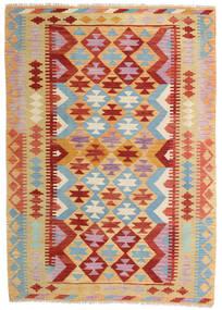 Kelim Afghan Old Style Matto 129X181 Itämainen Käsinkudottu Tummanbeige/Tummanpunainen (Villa, Afganistan)