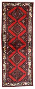 Hosseinabad Matto 77X207 Itämainen Käsinsolmittu Käytävämatto Tummanpunainen/Musta (Villa, Persia/Iran)