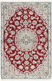 Nain 9La Matto 87X135 Itämainen Käsinsolmittu Vaaleanharmaa/Tummanpunainen (Villa/Silkki, Persia/Iran)