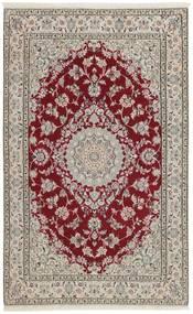Nain 9La Matto 126X201 Itämainen Käsinsolmittu Vaaleanharmaa/Tummanpunainen (Villa/Silkki, Persia/Iran)