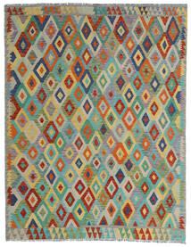 Kelim Afghan Old Style Matto 190X247 Itämainen Käsinkudottu Vaaleanharmaa/Tummanvihreä (Villa, Afganistan)