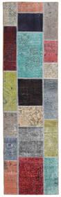 Patchwork - Persien/Iran Matto 72X252 Moderni Käsinsolmittu Käytävämatto Vaaleanharmaa/Tummanvioletti (Villa, Persia/Iran)