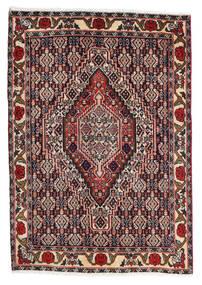Senneh Matto 75X105 Itämainen Käsinsolmittu Tummanpunainen/Tummanruskea (Villa, Persia/Iran)