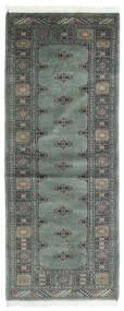 Pakistan Bokhara 3Ply Matto 80X200 Itämainen Käsinsolmittu Käytävämatto Tummanharmaa/Vaaleanharmaa (Villa, Pakistan)