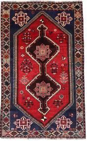 Shiraz Matto 150X246 Itämainen Käsinsolmittu Tummanpunainen/Tummanruskea (Villa, Persia/Iran)