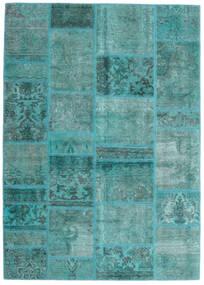 Patchwork - Persien/Iran Matto 141X198 Moderni Käsinsolmittu Siniturkoosi/Siniturkoosi (Villa, Persia/Iran)