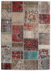 Patchwork - Persien/Iran Matto 141X198 Moderni Käsinsolmittu Vaaleanharmaa/Tummanpunainen (Villa, Persia/Iran)
