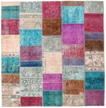Patchwork - Persien/Iran Matto 200X205 Moderni Käsinsolmittu Neliö Vaaleanharmaa/Violetti (Villa, Persia/Iran)