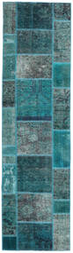 Patchwork - Persien/Iran Matto 80X296 Moderni Käsinsolmittu Käytävämatto Tumma Turkoosi/Siniturkoosi (Villa, Persia/Iran)