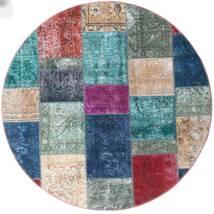 Patchwork - Persien/Iran Matto Ø 200 Moderni Käsinsolmittu Pyöreä Tummanharmaa/Tummansininen (Villa, Persia/Iran)