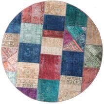 Patchwork - Persien/Iran Matto Ø 200 Moderni Käsinsolmittu Pyöreä Tummansininen/Violetti (Villa, Persia/Iran)