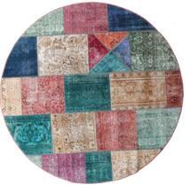 Patchwork - Persien/Iran Matto Ø 200 Moderni Käsinsolmittu Pyöreä Ruskea/Vaaleanharmaa (Villa, Persia/Iran)