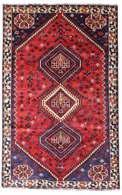 Shiraz Matto 152X243 Itämainen Käsinsolmittu Tummanpunainen/Punainen (Villa, Persia/Iran)