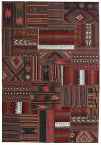 Tekkeh Kelim Matto 138X201 Moderni Käsinkudottu Tummanruskea/Musta/Tummanpunainen (Villa, Persia/Iran)