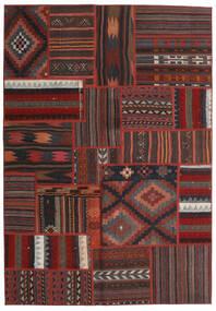 Tekkeh Kelim Matto 140X200 Moderni Käsinkudottu Tummanpunainen/Musta (Villa, Persia/Iran)