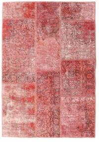 Patchwork - Persien/Iran Matto 107X155 Moderni Käsinsolmittu Vaaleanpunainen/Tummanpunainen (Villa, Persia/Iran)