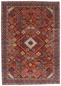 Hamadan Matto 215X308 Itämainen Käsinsolmittu Tummanpunainen/Tummanruskea (Villa, Persia/Iran)