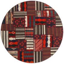 Tekkeh Kelim Matto Ø 250 Moderni Käsinsolmittu Pyöreä Tummanruskea/Tummanpunainen Isot (Villa, Persia/Iran)