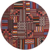 Tekkeh Kelim Matto Ø 250 Moderni Käsinsolmittu Pyöreä Tummanpunainen/Tummanharmaa Isot (Villa, Turkki)