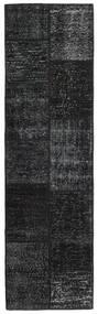 Patchwork - Turkiet Matto 58X200 Moderni Käsinsolmittu Käytävämatto Musta/Tummanharmaa (Villa, Turkki)