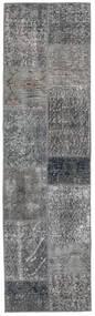 Patchwork - Turkiet Matto 56X201 Moderni Käsinsolmittu Käytävämatto Tummanharmaa/Vaaleanharmaa (Villa, Turkki)