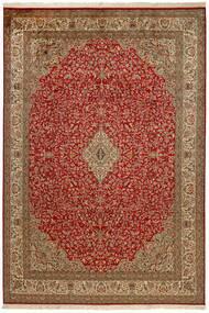 Kashmir 100% Silkki Matto 214X305 Itämainen Käsinsolmittu Tummanpunainen/Ruskea (Silkki, Intia)