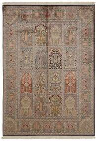 Kashmir 100% Silkki Matto 151X218 Itämainen Käsinsolmittu Vaaleanharmaa/Ruskea/Vaaleanruskea (Silkki, Intia)