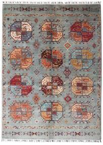 Shabargan Matto 153X204 Moderni Käsinsolmittu Vaaleanharmaa/Tummanpunainen (Villa, Afganistan)