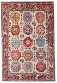 Kazak Matto 123X181 Itämainen Käsinsolmittu Tummanpunainen/Tummanruskea/Vaaleanpunainen (Villa, Afganistan)