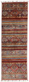 Shabargan Matto 61X184 Moderni Käsinsolmittu Käytävämatto Tummanpunainen/Tummanruskea (Villa, Afganistan)