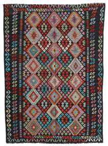 Kelim Afghan Old Style Matto 179X244 Itämainen Käsinkudottu Musta/Vaaleanharmaa (Villa, Afganistan)