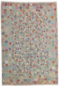 Kelim Afghan Old Style Matto 206X299 Itämainen Käsinkudottu Vaaleanharmaa/Vaaleanruskea (Villa, Afganistan)