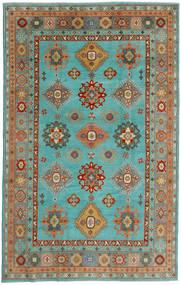Kazak Matto 198X313 Itämainen Käsinsolmittu Siniturkoosi/Vaaleanvihreä (Villa, Afganistan)