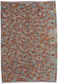 Kelim Afghan Old Style Matto 207X293 Itämainen Käsinkudottu Tummanharmaa/Vaaleanharmaa/Tummanpunainen (Villa, Afganistan)
