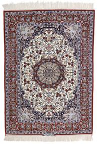 Isfahan Silkkiloimi Allekirjoitettu Intashari Matto 113X158 Itämainen Käsinsolmittu Vaaleanharmaa/Tummanruskea (Villa/Silkki, Persia/Iran)