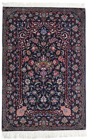 Isfahan Silkkiloimi Matto 110X160 Itämainen Käsinsolmittu Musta/Tummanvioletti (Villa/Silkki, Persia/Iran)