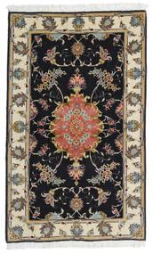 Tabriz 60 Raj Silkkiloimi Matto 73X120 Itämainen Käsinsolmittu Musta/Tummanbeige (Villa/Silkki, Persia/Iran)