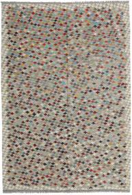 Kelim Afghan Old Style Matto 200X292 Itämainen Käsinkudottu Vaaleanharmaa/Tummanruskea (Villa, Afganistan)