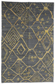 Kelim Moderni Matto 198X302 Moderni Käsinkudottu Tummanharmaa/Vaaleanvihreä (Villa, Afganistan)