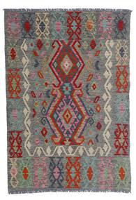 Kelim Afghan Old Style Matto 100X143 Itämainen Käsinkudottu Tummanharmaa/Tummanpunainen (Villa, Afganistan)
