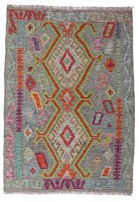 Kelim Afghan Old Style Matto 100X141 Itämainen Käsinkudottu Tummanharmaa/Vaaleanharmaa (Villa, Afganistan)