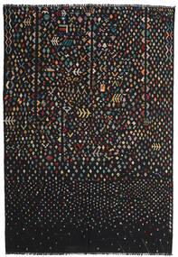 Kelim Moderni Matto 195X286 Moderni Käsinkudottu Musta/Tummanharmaa (Villa, Afganistan)